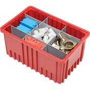 "Plastic Dividable Grid Container - DG92080,16-1/2""L x 10-7/8""W x 8""H, Red - Pkg Qty 8"