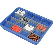 "Plastic Dividable Grid Container - DG93030, 22-1/2""L x 17-1/2""W x 3""H, Blue - Pkg Qty 6"