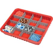 "Plastic Dividable Grid Container - DG93030, 22-1/2""L x 17-1/2""W x 3""H, Red - Pkg Qty 6"