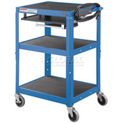 Global Industrial™ Steel Mobile Workstation Cart with Slide out keyboard and Mouse Shelf-Blue