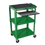 Green Adjustable Steel Workstation With Sliding Keyboard Shelf