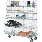 "Modular Wire Stacking Bin Basket Rack, 48""W x 20""D x 51""H, 5 Wire Bins"