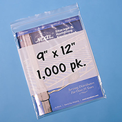 "Resealable Poly Bags With Write-On Label 9"" x 12"" 2 Mil 1,000 Pack"