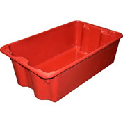 "Molded Fiberglass Nest and Stack Tote 780508 - 24-1/4"" x 14-3/4"" x 8"" Red - Pkg Qty 10"