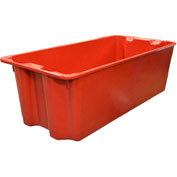 """Molded Fiberglass Nest and Stack Tote 780008 with Wire - 42-1/2"""" x 20"""" x 14-1/4"""", Red"""