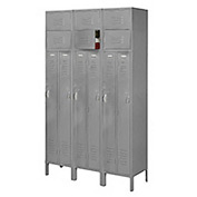 Penco 6503V-3028-KD VanGuard Two Person Locker 15x18x72 Ready To Assembled 3 Wide Gray
