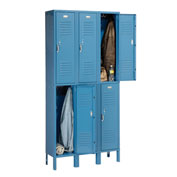 Penco 6231V-3 Vanguard Locker Pull Latch Double Tier 12x12x36 6 Doors Ready To Assemble Marine Blue