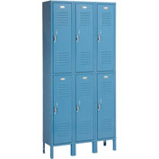 Penco 6235V-3 Vanguard Locker Pull Latch Double Tier 12x18x36 6 Doors Ready To Assemble Marine Blue