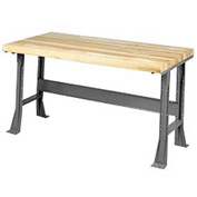 "60""W x 30""D Extra Long Industrial Workbench, Maple Butcher Block Square Edge - Gray"