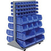 Mobile Double Sided Floor Rack With 88 Yellow Stacking Bins 36 x 54