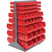 Mobile Double Sided Floor Rack With 100 Red Stacking Bins 36 x 54