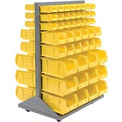 Mobile Double Sided Floor Rack With 100 Yellow Stacking Bins 36 x 54
