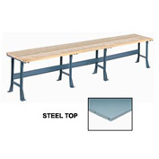 "180"" W x 36 Extra Long Production Workbench, Steel Square Edge - Gray"