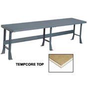 "144"" W x 36"" D Extra Long Production Workbench, Shop Top Square Edge - Gray"