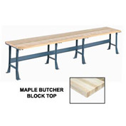"180"" W x 36"" D Extra Long Production Workbench, Maple Butcher Block Square Edge - Gray"