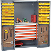 Security Work Center & Storage Cabinet With Peboards, 6 Drawers & 64 Yellow Bins