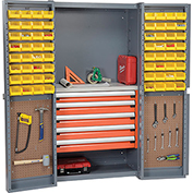 Security Work Center & Storage Cabinet With Peboards,5 Drawers & 64 Yellow Bins