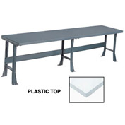 "120"" W x 36"" D Extra Long Production Workbench, Plastic Laminate Square Edge - Gray"