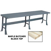 """120"""" W x 30"""" D Extra Long Production Workbench, Maple Butcher Block Square Edge - Gray"""
