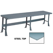 "120"" W x 36"" D Extra Long Production Workbench, Steel Square Edge - Gray"