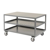Jamco All Welded Portable Steel Table LC236 3 Shelves 36x24 1200 Lb. Capacity