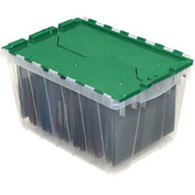 "Akro-Mils Clear Attached Lid Container 66497CLGN - 21-1/2""L x 15""W x 17""H, Green Lid - Pkg Qty 3"