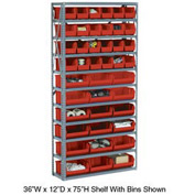 "Steel Open Shelving with 28 Red 8-1/4x10-3/4x7 Stacking Bins 8 Shelves - 36"" x 12"" x 73"""