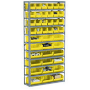 "Steel Open Shelving with 28 Yellow  8-1/4x14-3/4x7 Stacking Bins 8 Shelves - 36"" x 12"" x 73"""
