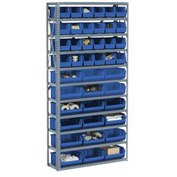 "Steel Open Shelving with 21 Blue Plastic Stacking Bins 8 Shelves - 36"" x18"" x 73"""
