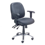 Multifunctional Office Chair with Arms - Leather - Mid Back - Black
