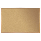 "Ghent® Cork Bulletin Board - Hardwood Oak - 46.5""W X 36""H"