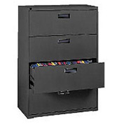 "Extra Value 4 Drawer Lateral File Cabinet 36""W X 54-5/8""H - Black"