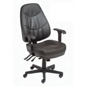 Executive Multifunctional Office Chair - Leather - Mid Back - Black