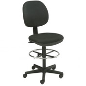 "Office Stool - Fabric - Pneumatic Height 23"" - 26"" - Black"
