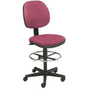"Office Stool - Fabric - Pneumatic Height 23"" - 26"" - Burgundy"