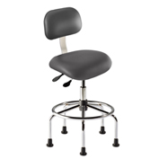 "Bio Fit Eton ET Series Manager Stool with Chrome Base, 25""-30"" Seat Height, Black Fabric"