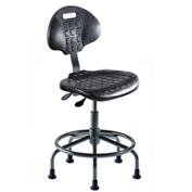 "Ergonomic Stool - Polyurethane - Pneumatic 16"" -21"" - Black"