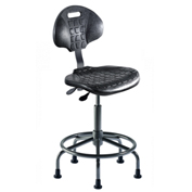 "Ergonomic Stool - Polyurethane - Pneumatic 19"" - 24"" - Black"