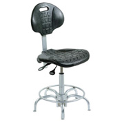 "Ergonomic Stool - Polyurethane - Pneumatic 23"" - 28"" - Black/Chrome"