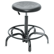 "Ergonomic Stool - Polyurethane - Pneumatic 22"" -27"" - Black"