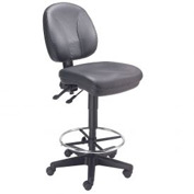 Leather Task Stool - 360° Footrest - Black