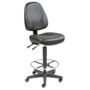 Leather Operator Stool - 360° Footrest - Black