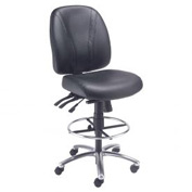 Deluxe Leather Task Stool - 360° Footrest - Black