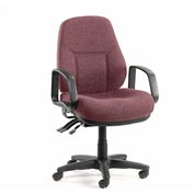Office Chair with Arms - Fabric - Mid Back - Burgundy