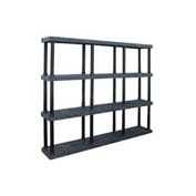 "Structural Plastic Vented Shelving, 96""W x 16""D x 75""H, Black"