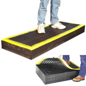 "7/8"" Thick Anti Fatigue Mat - Black with Yellow Border  24X96"