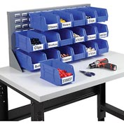 "Louvered Bench Rack 36""W x 20""H with 18 of Blue Premium Stacking Bins"