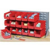"""Louvered Bench Rack 36""""W x 20""""H with 18 of Red Premium Stacking Bins"""