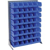 "Singled Sided Louvered Bin Rack 35""W x 15""D x 50""H with 48 of Blue Premium Stacking Bins"
