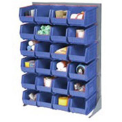 "Singled Sided Louvered Bin Rack 35""W x 15""D x 50""H with 24 of Blue Premium Stacking Bins"